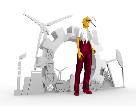 Young man wearing apron textured by Qatar flag. Bearded worker at industrial isometric icons set. 3D rendering. Metallic material. Energy generation and heavy industry.