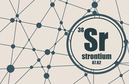 strontium: Strontium chemical element. Sign with atomic number and atomic weight. Chemical element of periodic table. Molecule And Communication Background. Connected lines with dots.