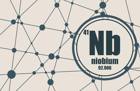 niobium: Niobium chemical element. Sign with atomic number and atomic weight. Chemical element of periodic table. Molecule And Communication Background. Connected lines with dots.