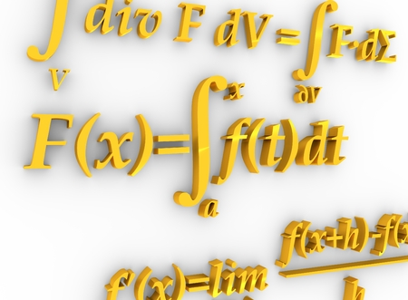 mathematical proof: Math formulas. 3D rendering. Education and science relative background Stock Photo