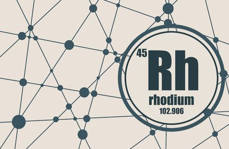 atomic number: Rhodium chemical element. Sign with atomic number and atomic weight. Chemical element of periodic table. Molecule And Communication. Connected lines with dots.