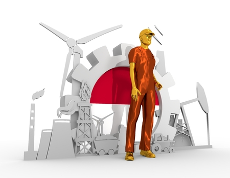 chrome man: Young man wearing apron. Bearded worker at industrial isometric icons set with Indonesia flag. 3D rendering. Metallic material. Energy generation and heavy industry. Stock Photo