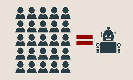 Humanos vs Robots. La inteligencia artificial y la inteligencia humana se comparan. Concepto de negocio ilustración. Vector de diseño plano.