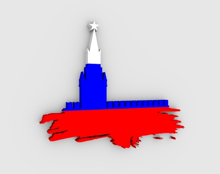 Spasskaya Tower of Kremlin and part of the wall in Moscow. Grunge brush. 3D rendering. Russian capital famous place silhouette textured by flag of the Russia