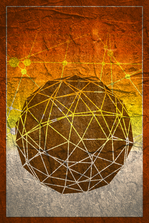 wire mesh: Wireframe Polygonal Element. 3D Sphere with Lines. Grunge concrete texture
