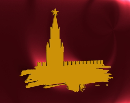 spasskaya: Spasskaya Tower of Kremlin and part of the wall in Moscow. Grunge brush. 3D rendering. Russian capital famous place silhouette Stock Photo