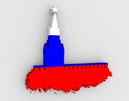 spasskaya: Spasskaya Tower of Kremlin and part of the wall in Moscow. Grunge brush. 3D rendering. Russian capital famous place silhouette textured by flag of the Russia