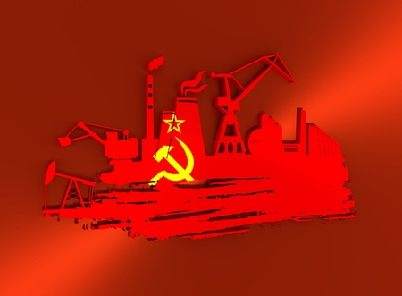 Energy and Power icons set and grunge brush stroke. Energy generation and heavy industry relative image. Flag of the USSR. 3D rendering
