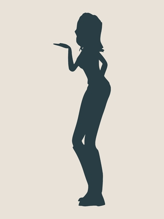 lovestruck: Silhouette of a girl who sends an air kiss Vector Illustration Illustration