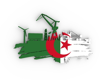 Energy and Power icons set and grunge brush stroke. Energy generation and heavy industry relative image. Flag of the Algeria. 3D rendering