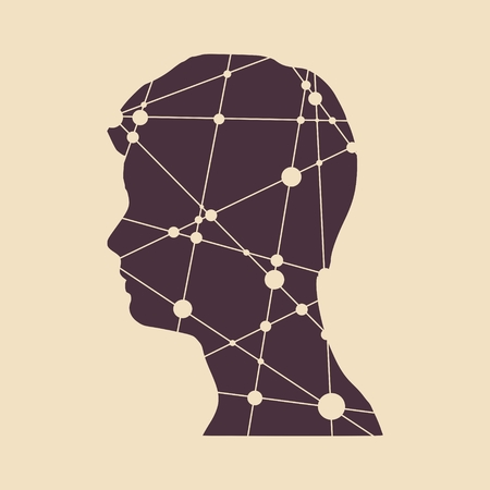 medical technology: Profile of the head of a man. Mental health relative vector design template. Scientific medical designs. Molecule And Communication Background. Connected lines with dots.
