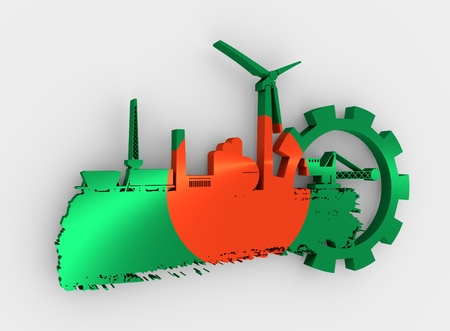 Energy and Power icons set and grunge brush stroke. Energy generation and heavy industry relative image. Flag of the Bangladesh. 3D rendering Stock Photo