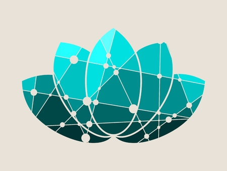 Lotus flower symbol. Design element for branding. Molecule And Communication style. Connected lines with dots.