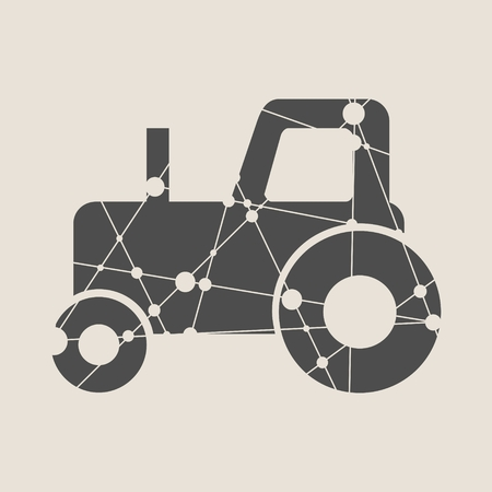 Low polygon style illustration of a farmer driver driving riding vintage tractor plowing field viewed from side set on isolated white background. Illustration