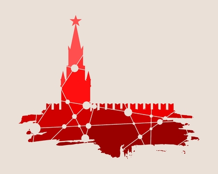 Spasskaya Tower of Kremlin and part of the wall in Moscow. Grunge brush. Molecule And Communication. Connected lines with dots.