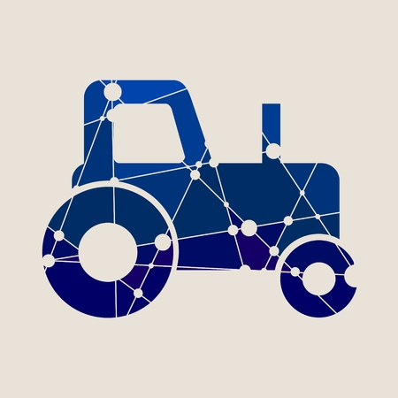 traction: Low polygon style illustration of a farmer vintage tractor. Isolated on white background. Blue gradient Illustration