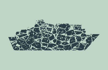 Ferry boat icon. Image relative to sea travelling. Grunge cracked texture Illustration