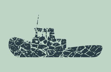Marine tug monochrome icon. Grunge cracked texture