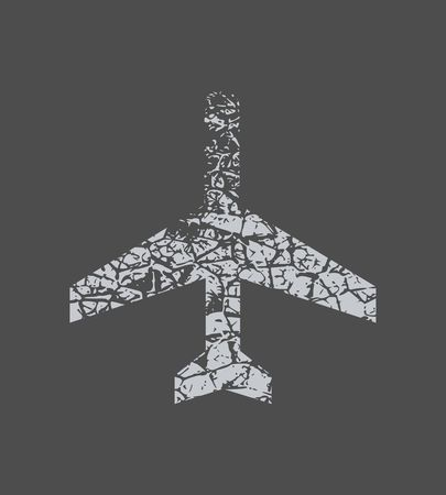 Plan sign, travel concept. Airplane icon. Low poly art. Creative concept of tourism. Grunge cracked texture Illustration