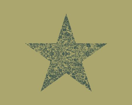 Star Icon. Rating symbol for your web site design, app, UI. Grunge cracked texture Illustration