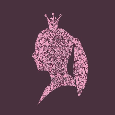 Profile view silhouette of a princess or queen. Vector Illustration. Cute adolescent girl portrait. Fashion branding emblem. Grunge cracked texture avatar