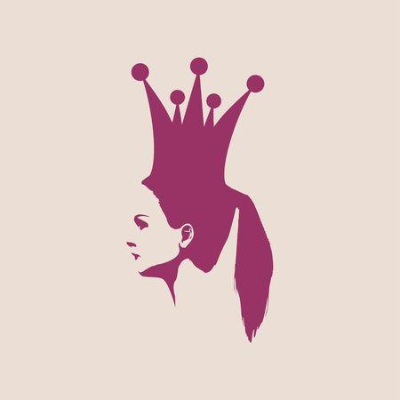 Profile view silhouette of a princess or queen. Vector Illustration. Cute adolescent girl portrait. Fashion branding emblem