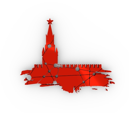 Spasskaya Tower of Kremlin and part of the wall in Moscow. Grunge brush. Molecule And Communication. Connected lines with dots. 3D rendering