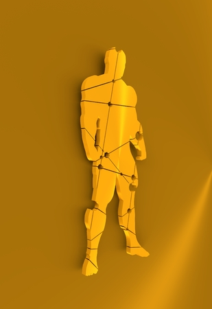 Abstract illustration of bodybuilder. Mosaic style silhouette. Molecule And Communication. Connected lines with dots. 3D rendering Stock Photo
