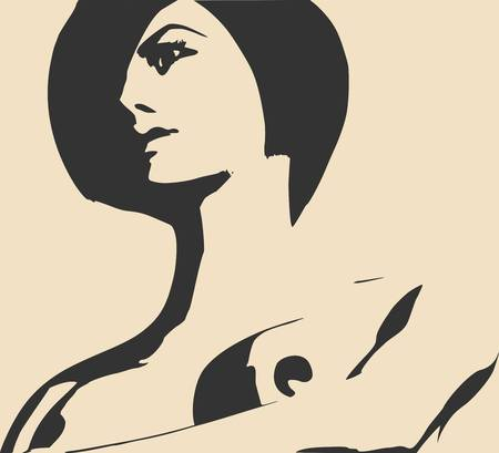Naked young woman covering her breast by hand. Vector illustration. Female torso sketch