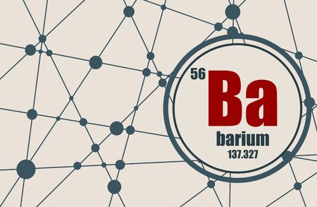 barium: Barium chemical element. Sign with atomic number and atomic weight. Chemical element of periodic table. Molecule And Communication Background. Connected lines with dots.