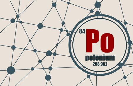 polonium: Polonium chemical element. Sign with atomic number and atomic weight. Chemical element of periodic table. Molecule And Communication Background. Connected lines with dots.