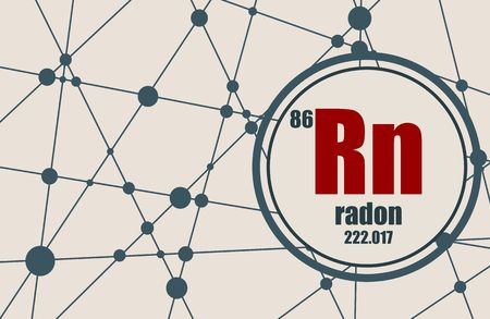 Radon chemical element. Sign with atomic number and atomic weight. Chemical element of periodic table. Molecule And Communication Background. Connected lines with dots. Illustration