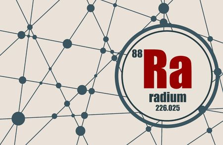 Radium chemical element. Sign with atomic number and atomic weight. Chemical element of periodic table. Molecule And Communication Background. Connected lines with dots.
