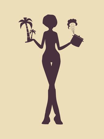 Concept of life and recreation balance. Vector flat illustration. Hard choose between housekeeping and tropical vacation. Woman holding palm tree and dishware.