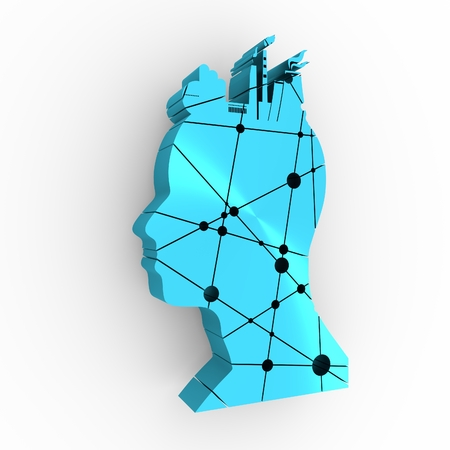 thinking machines: Head with factory for brain. Heavy industry and atom energy. Connected lines with dots. 3D rendering Stock Photo