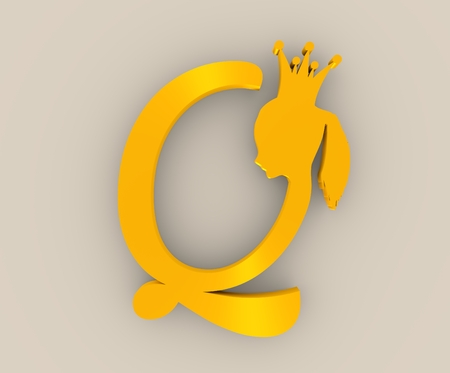 Vintage queen silhouette. Medieval queen profile. Elegant silhouette of a female head. Fashion branding emblem. Royal emblem with Q letter. 3D rendering. Golden metallic material Stock Photo