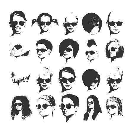 Grande set vettoriale di icone di donne diverse app in occhiali da sole in stile piano. Volti femminili o teste di immagini.
