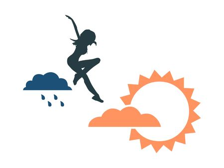 Woman is jumping from rainy cloud to the sun . Weather forecast icons