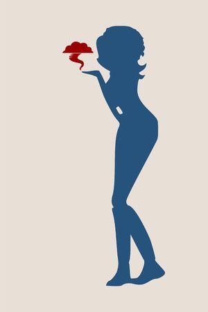 Silhouette eines Mädchens, das Tornado sendet wie ein Luft Kuss Vektor-Illustration Vektorgrafik