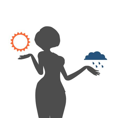 meteorologist: A vector illustration of a TV weather reporter at work. Weather forecast icons