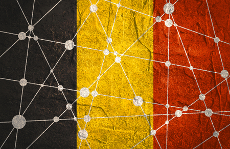 stucco: Flag of the Germany. Low poly concept triangular style. Molecule And Communication Background. Connected lines with dots. Concrete grunge texture