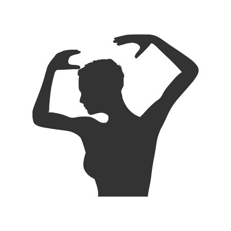 acrobatics: Silhouette of a dancing girl. women silhouette. Vector Illustration