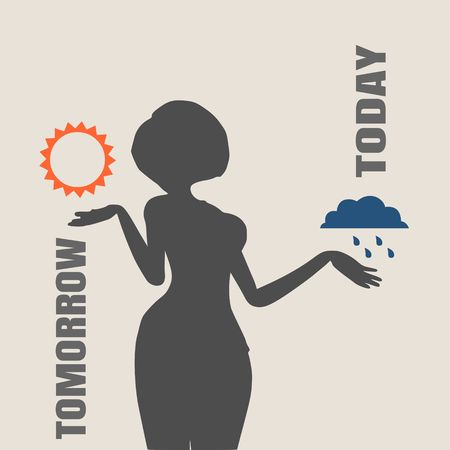 A vector illustration of a TV weather reporter at work. Weather forecast icons. Today and tomorrow words Illustration
