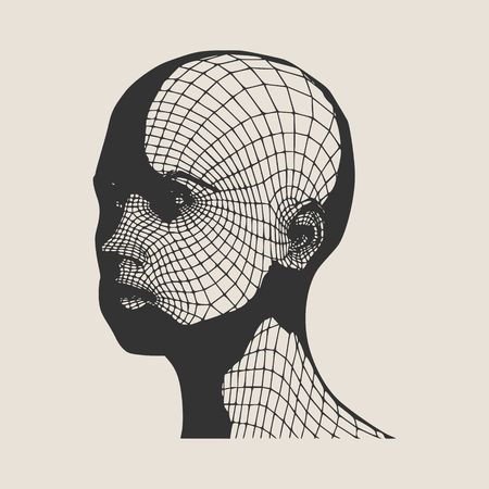 Head of the person from a 3d Grid. Human head wire model. 3D geometric face design. Polygonal covering skin. Stock Illustratie
