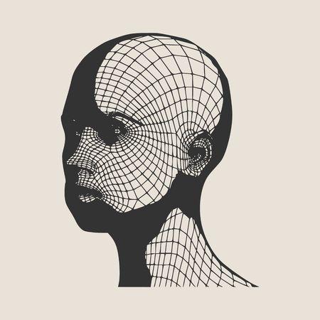 Kopf der Person aus einem 3D-Gitter . Menschlicher Kopf Kopf . 3D geometrisches Design . Polygonale Farbe Standard-Bild - 80435572