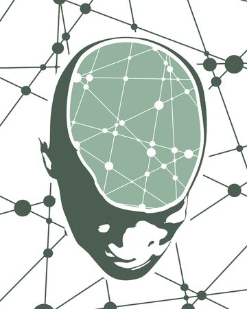 human anatomy: Abstract illustration of a human head with brain. Up view face silhouette. Medical theme creative concept. Connected lines with dots.