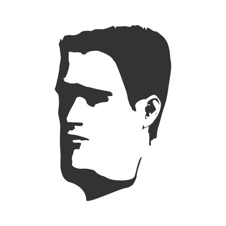 Man avatar. Half turn view. Isolated male face silhouette or icon .