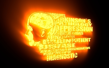 latent: Abstract illustration of a human head with brain. Woman face silhouette. Medical theme creative concept. Parkinsons syndrome disease tags cloud. 3D rendering. Yellow neon illumination Stock Photo