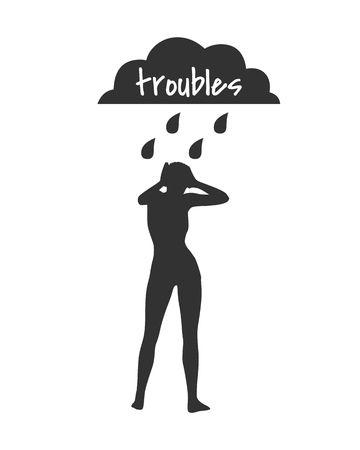 白い背景の上嵐雨雲の下で女性のシルエット。悲しみや抑うつについての概念図。問題テキスト
