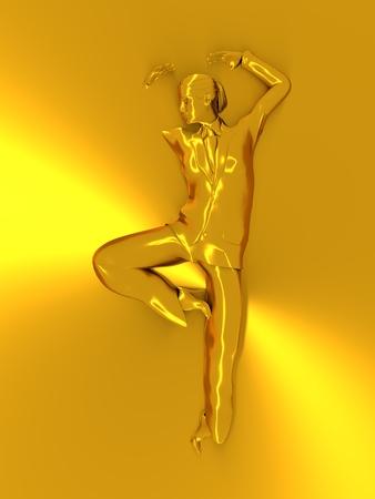 chrome: Beautiful business woman in dancing pose. 3D rendering. Metallic material Stock Photo